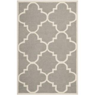 Safavieh Handwoven Moroccan Reversible Dhurrie Geometric-pattern Grey Wool Rug (9' x 12')