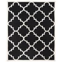 Safavieh Hand-woven Moroccan Reversible Dhurrie Black Wool Contemporary Rug - 6' x 9'