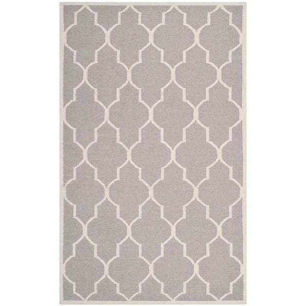 Safavieh Hand-woven Moroccan Reversible Dhurrie Dark Grey Wool Rug (5' x 8')