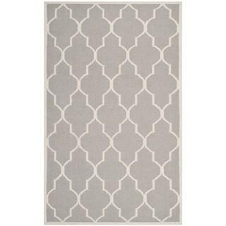 Safavieh Hand-woven Moroccan Reversible Dhurrie Dark Grey Geometric Wool Rug (4' x 6')