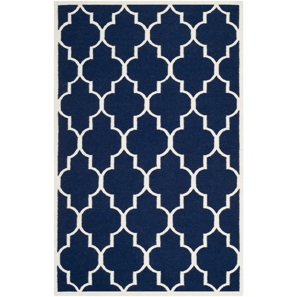 Safavieh Handwoven Moroccan Reversible Dhurrie Geometric Navy Wool Rug 8 X27 X 10