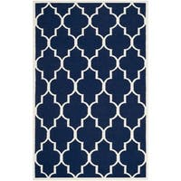 Safavieh Handwoven Moroccan Reversible Dhurrie Transitional Navy Wool Rug - 6' x 9'