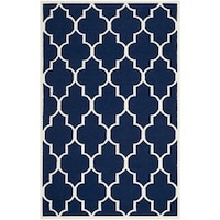 Safavieh Handwoven Moroccan Reversible Dhurrie Transitional Navy Wool Rug 6