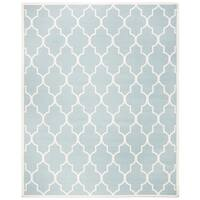 Safavieh Hand-woven Moroccan Reversible Dhurrie Light Blue Wool Rug - 8' x 10'