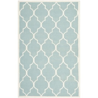 Safavieh Handwoven Moroccan Reversible Dhurrie Light Blue Wool Area Rug (5' x 8')