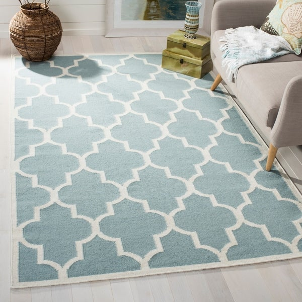 Safavieh Moroccan Blue And Black Area Rug: Shop Safavieh Handwoven Moroccan Reversible Dhurrie Light