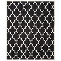 Safavieh Hand-woven Moroccan Reversible Dhurrie Black Wool Indoor Rug - 6' x 9'