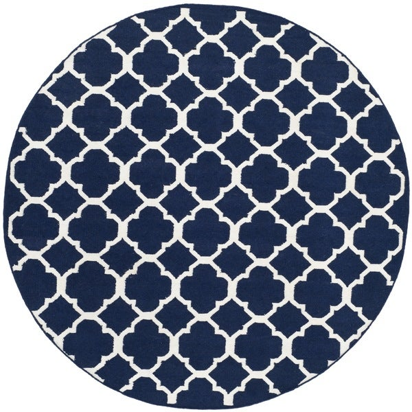 Safavieh Handwoven Moroccan Reversible Dhurrie Transitional Navy Wool Rug - 7' Round