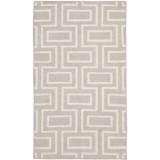 Safavieh Handwoven Moroccan Reversible Dhurrie Contemporary Grey/ Ivory Wool Rug (3' x 5')