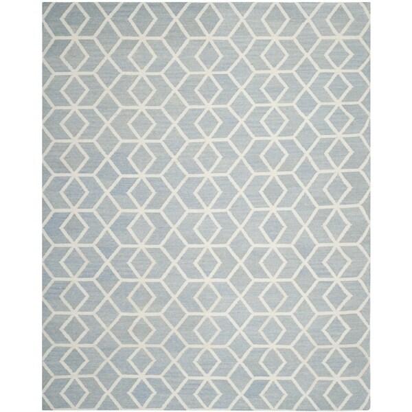 Safavieh Contemporary Safavieh Handwoven Moroccan Reversible Dhurrie Blue/ Ivory Wool Rug - 9' x 12'