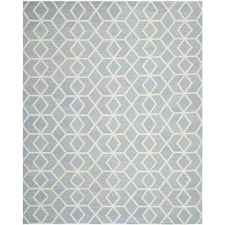 Safavieh Contemporary Safavieh Handwoven Moroccan Reversible Dhurrie Blue/ Ivory Wool Rug (9' x 12')