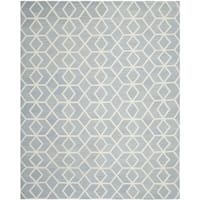 Safavieh Contemporary Safavieh Handwoven Moroccan Reversible Dhurrie Blue/ Ivory Wool Rug - 9' x 12'
