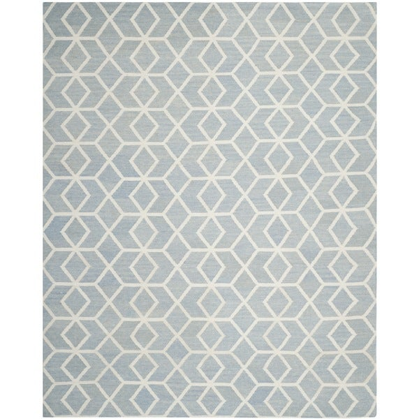 Safavieh Hand-woven Geometric Moroccan Reversible Dhurrie Blue Wool Rug - 8' x 10'