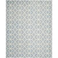 Safavieh Hand-woven Geometric Moroccan Reversible Dhurrie Blue Wool Rug - 8' x 10'