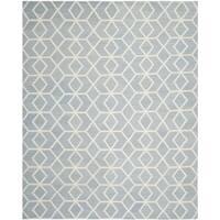 Safavieh Handwoven Moroccan Reversible Dhurrie Blue/ Ivory Wool Area Rug - 6' x 9'