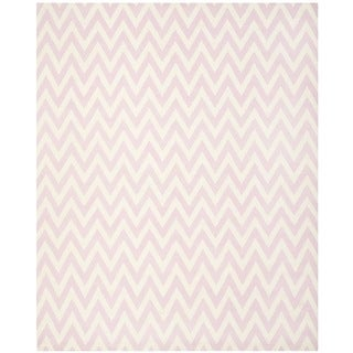 Safavieh Hand-woven Moroccan Reversible Dhurrie Pink/ Ivory Wool Rug (9' x 12')