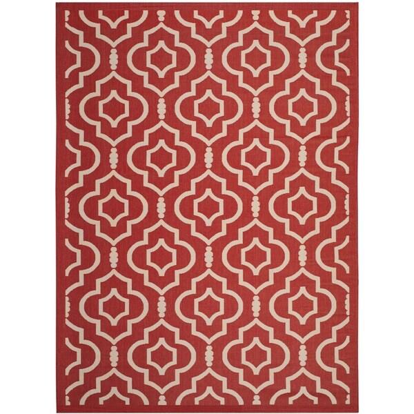 Safavieh Indoor/ Outdoor Courtyard Collection Red/ Bone Rug - 8' x 11'