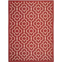 Safavieh Indoor/ Outdoor Courtyard Collection Red/ Bone Rug - 8' x 11'
