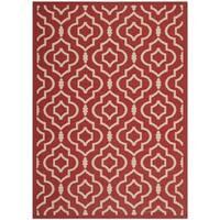 Safavieh Indoor/ Outdoor Courtyard Contemporary Red/ Bone Rug - 5'3 x 7'7