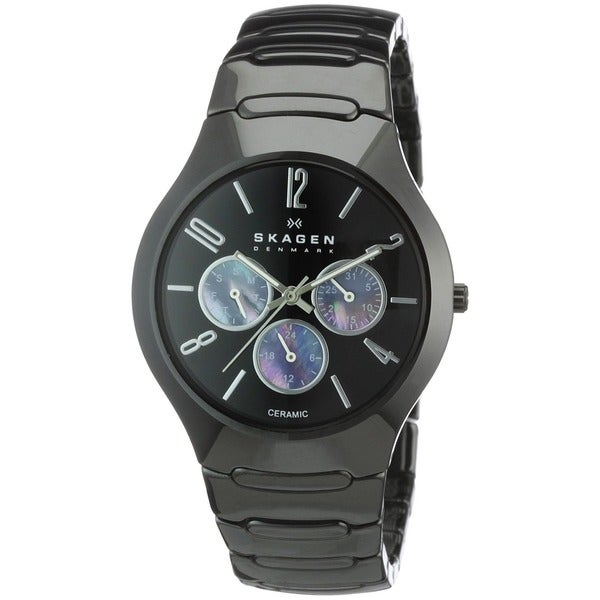 Shop skagen men 39 s ceramic black day and date watch free shipping today 8275182 for Ceramic man watch
