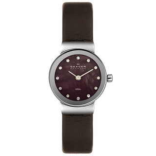 Skagen Women's Steel Brown Leather Strap Watch