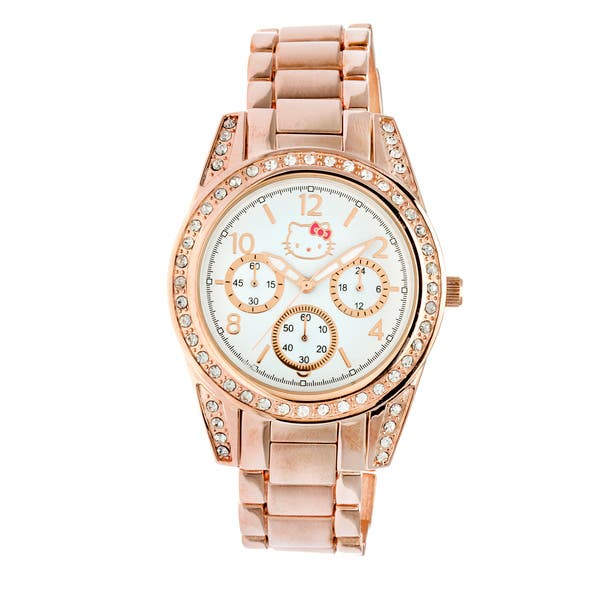 7ec02d7f4 Hello Kitty by Simmons Jewelry Co. Women's 'H3WL1034ROSE Brushed Round  Rose-gold Alloy