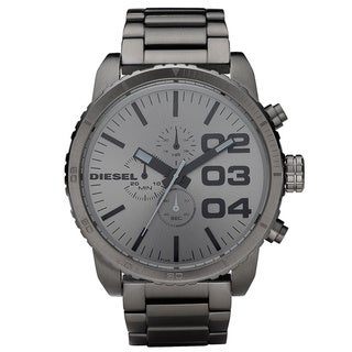 Diesel Men's DZ4215 'Double Down' Grey Chronograph Stainless Steel Watch
