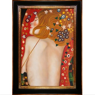 Gustav Klimt 'Sea Serpents IV' Hand Painted Framed Canvas Art