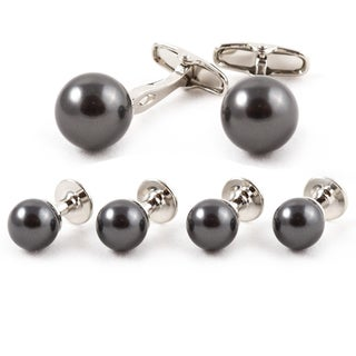 Silver Overlay Black Faux Pearl Jewelry Set