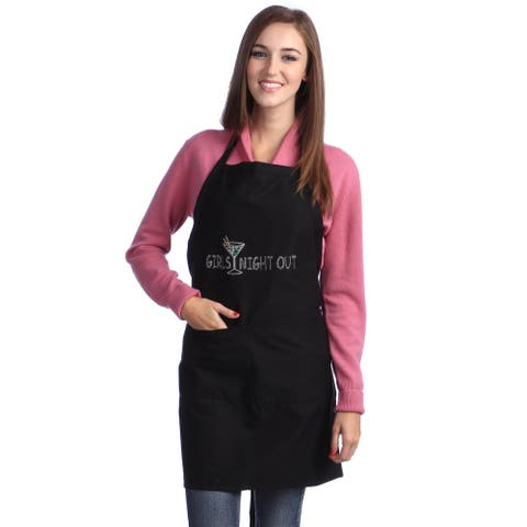 Kaufman Girls Night Out Rhinestone Apron adjustable neck 2 pockets