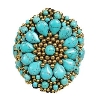 Festive Chrysanthemum Turquoise Stones Floral Bracelet (Thailand)