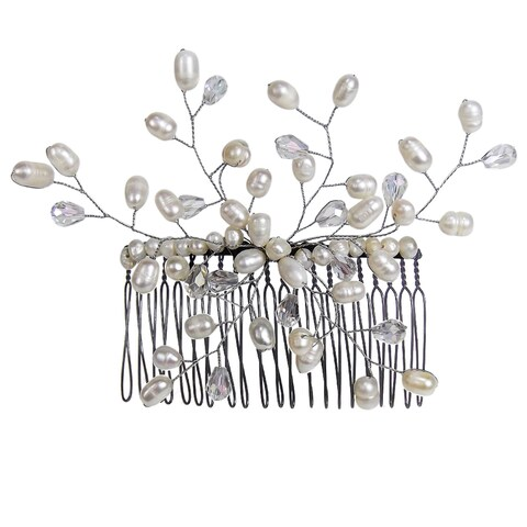 Handmade Floral Vine Freshwater White Pearls Bridal Hair Comb (Thailand)