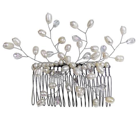 Handmade Floral Vine Freshwater White Pearls Bridal Hair Comb (Thailand)