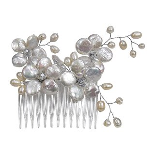 Floral Wreath Freshwater Coin Pearl Bridal Hair Comb (Thailand)
