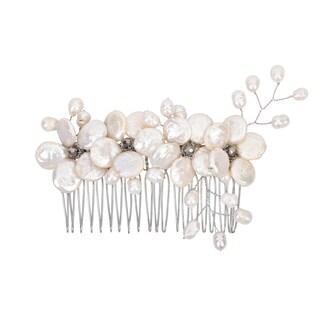 Handmade Floral Wreath Freshwater Coin Pearl Bridal Hair Comb (Thailand)