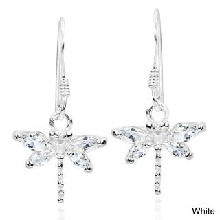 Handmade Pretty Cubic Zirconia Dragonfly .925 Silver Dangle Earrings (Thailand)