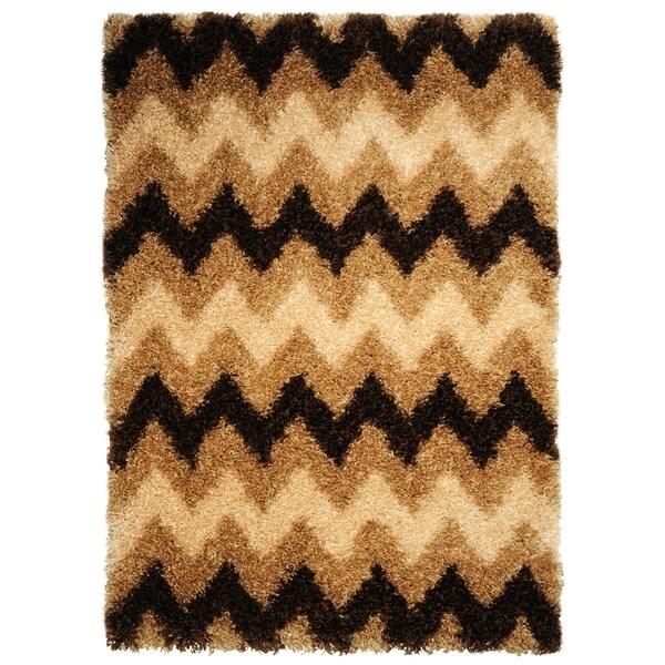 Chic Luxurious Soft Shag Chevron Brown Beige Area Rug (6'7 x 9'3)
