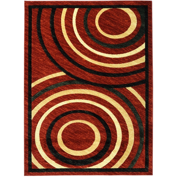 Hand Carved Red Abstract Circles Area Rug (5'3 x 7'2)