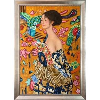 Gustav Klimt 'Signora con Ventaglio' Hand Painted Framed Canvas Art|https://ak1.ostkcdn.com/images/products/8276645/P15597975.jpg?impolicy=medium