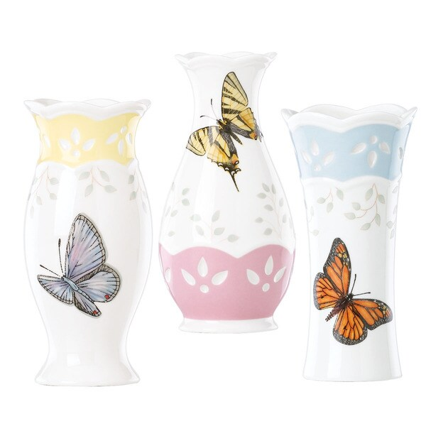 Lenox Butterfly Meadow Colors 3-Piece Vase Set