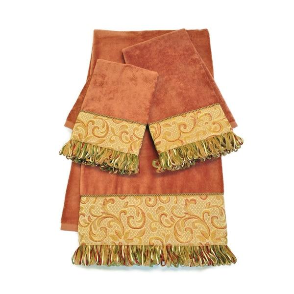 Sherry Kline Swirl Paisley Coral Embellished 3-piece Towel Set