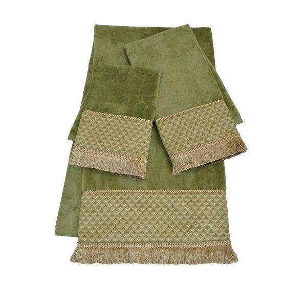 Sherry Kline Amore Sage Embellished 3-piece Towel Set