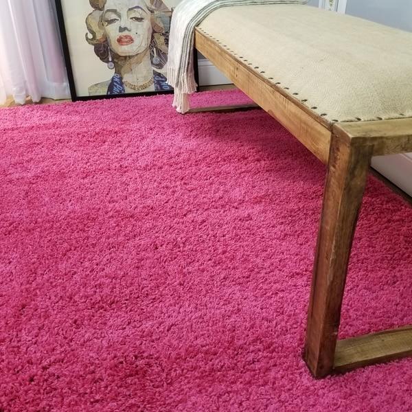 Shop Soft Shag Pink Area Rug