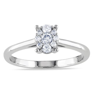 Miadora 10k White Gold 1/4ct TDW Oval Diamond Ring