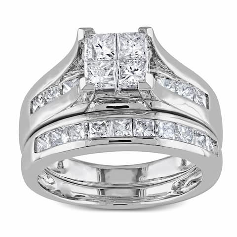 Miadora Signature Collection 14k White Gold 2ct TDW Channel-Set Diamond Quad Bridal Ring Set (G-H,I1-I2)