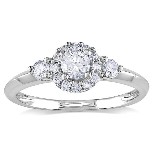 Miadora 10k White Gold 1/2ct TDW Diamond Promise Ring (H-I, I2-I3)