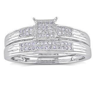 Miadora 10k White Gold 1/6ct TDW Diamond Bridal Ring Set (H-I, I2-I3)