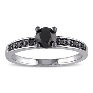 Miadora Sterling Silver 4/5ct TDW Black Diamond Solitaire Ring
