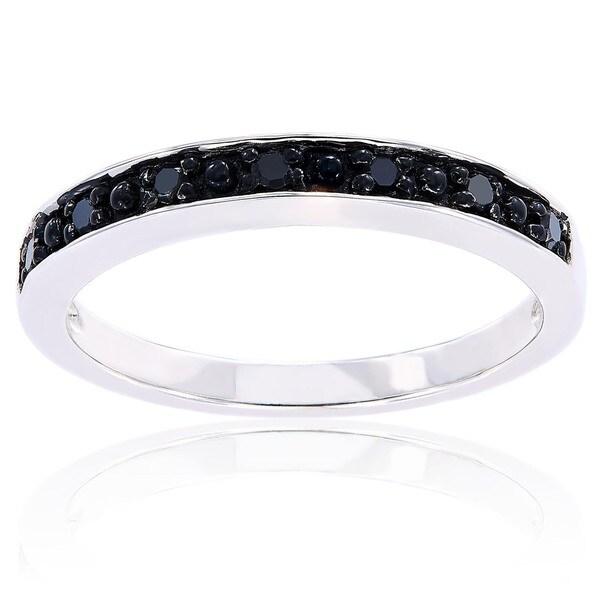 Miadora Sterling Silver Black Diamond Stackable Anniversary Wedding Band Ring