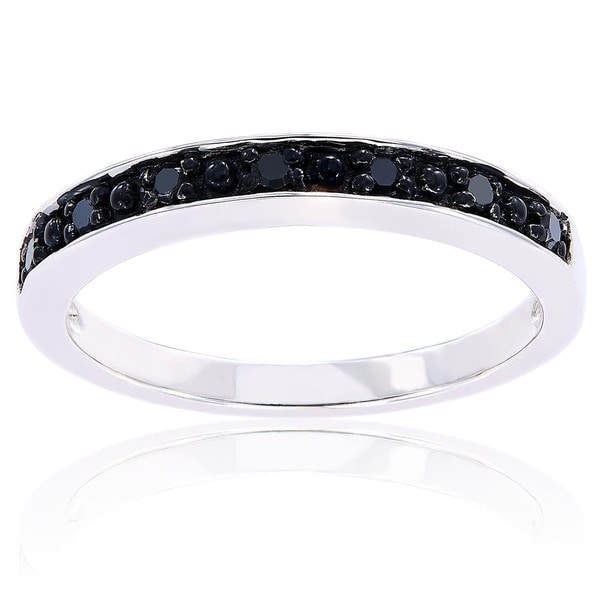 miadora sterling silver black diamond stackable anniversary wedding band ring - Wedding Rings With Black Diamonds